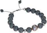 Chan Luu Single Strand Adjustable Bracelet with Grey Pearls with Crystal Inlay