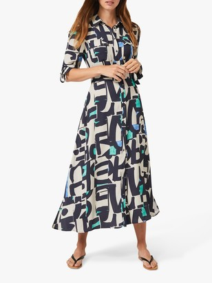 Phase Eight Lakely Abstract Print Maxi Shirt Dress, Navy/Multi