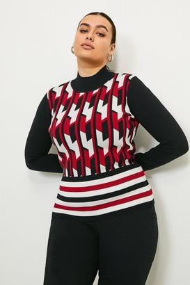 Karen Millen Curve GEO Stripe Knit Jumper