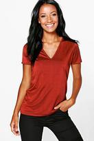 Boohoo Ella Premium Slinky V Front T-Shirt