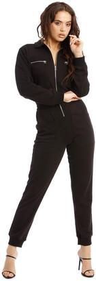 Missguided Zip Collar Loopback Jumpsuit