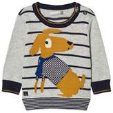 Catimini Grey Dog and Stripe Knit Jumper