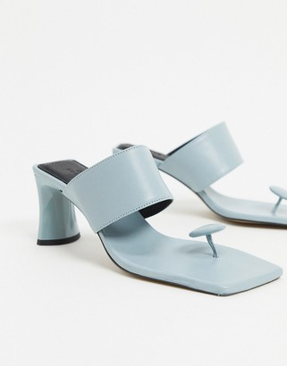 ASOS DESIGN Holiday premium leather toe post mid-heeled sandals in blue