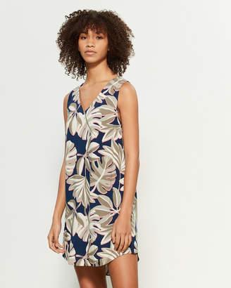 Apricot Leaf Print Mini Shift Dress