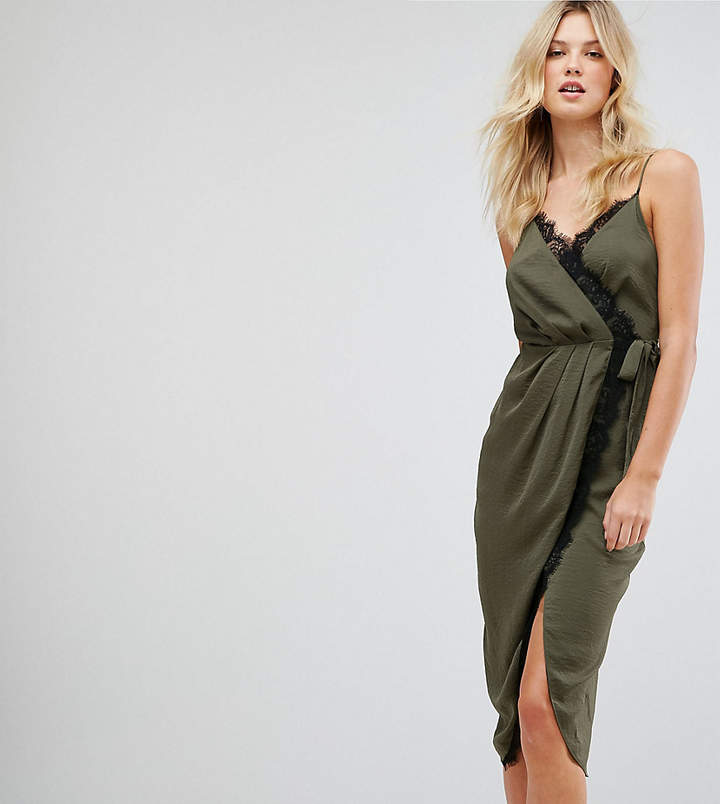Asos Tall TALL Hammered Satin Lace Trim Cami Sexy Wrap Midi Dress