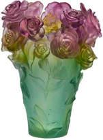 Daum Rose Passion Medium Pink/Green Vase