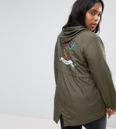 Brave Soul Plus Festival Parka With Swallow Back Print