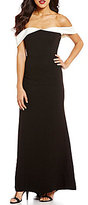 Calvin Klein Strapless Popover Colorblock Tuxedo Gown