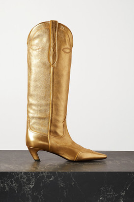 KHAITE Dallas Metallic Leather Knee Boots - Gold