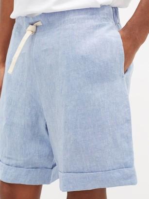 MARANÉ Drawstring-waist Linen-chambray Shorts - Light Blue