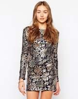 Club L Floral Sequin Body-Conscious Dress