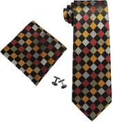 Landisun SILK Plaids & Checks Mens SILK Tie Set: Necktie+Hanky+Cufflinks