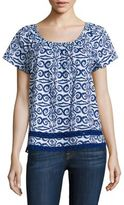 Vineyard Vines Salt Island Printed Flutter Sleeve Top