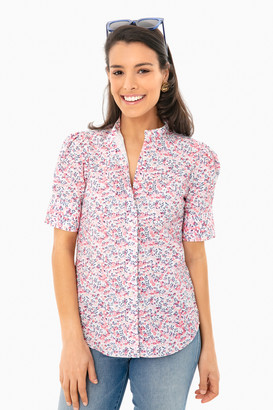 The Shirt By Rochelle Behrens Cherry Blossom Short Sleeve Puff Shoulder