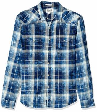 Lucky Brand Men's Long Sleeve Button UP Sugar Magic WASH Western Shirt