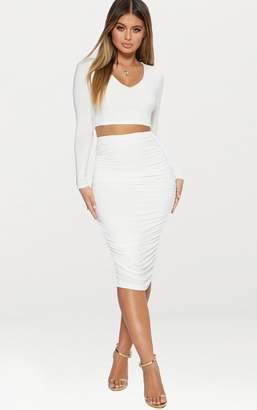 PrettyLittleThing White Slinky Second Skin Ruched Midi Skirt