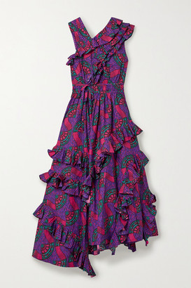 Ulla Johnson Imogen Asymmetric Ruffled Printed Cotton-poplin Midi Dress - Purple