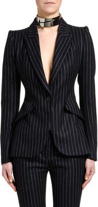 Alexander McQueen Pinstriped Flannel One-Button Jacket