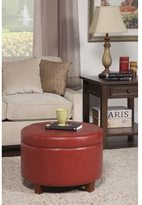 HomePop Cinnamon Red Leatherette Round Storage Ottoman