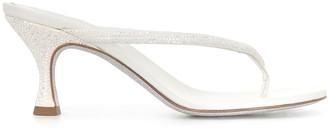 Rene Caovilla Crystal Embellished Satin Sandals
