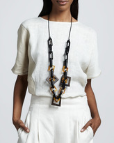 Lafayette 148 New York Wood and Resin Squares Necklace