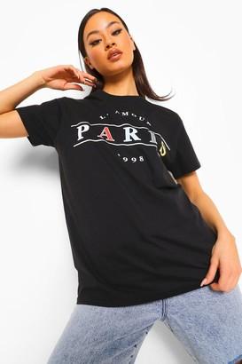 boohoo Paris Slogan Overiszed T Shirt