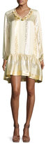 Rachel Zoe Roe Metallic Jacquard Shift Dress, Gold/Silver