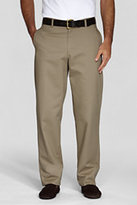 Lands' End Young Men's Stain Resist Plain Front Chino Pant-Khaki