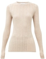 Gabriela Hearst Collins Lace Ribbed Cashmere-blend Sweater - Womens - Beige