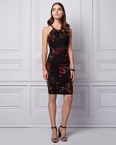 Le Château Floral Print Knit Halter Cocktail Dress