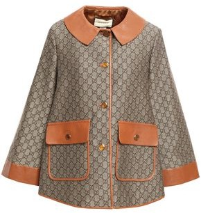 Gucci Leather-trimmed Cotton And Wool-blend Logo-jacquard Jacket