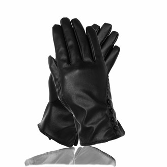 Soul Young Women's Black PU leather Driving Gloves for Winter With Gift Box(L Black)