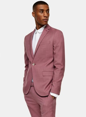 Topman Pink Single Breasted Skinny Fit Suit Blazer With Notch Lapels