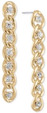 Rachel Roy Gold-Tone Crystal & Chain-Link Linear Drop Earrings