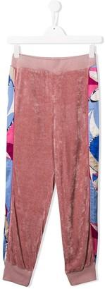 Emilio Pucci Junior Side Print Velvet Track Pants