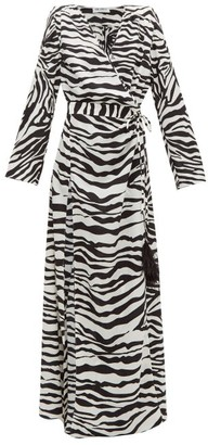 ATTICO The Zebra-print Feather-embellished Wrap Dress - Womens - Black White
