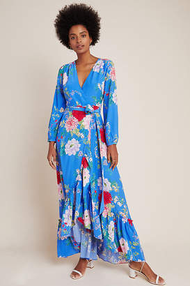 Yumi Kim Azure Wrap Maxi Dress By in Blue Size S