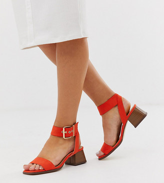 Raid Wide Fit Bessie orange square toe stacked heel sandals