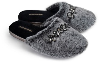 Pretty You London Dido Elegant Diamante Mule Slippers In Black