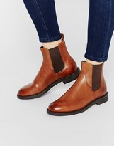 Vagabond Amina Tan Leather Flat Ankle Boots