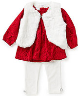Starting Out Baby Girls 3-24 Months 3-Piece Faux-Fur Vest, Lace Top, and Leggings Set