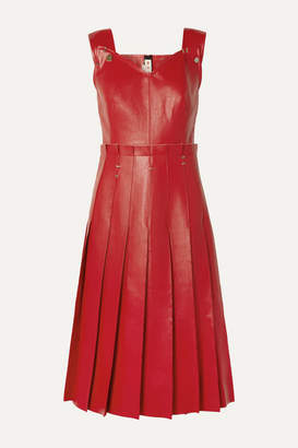 Marni Pleated Embellished Faux Leather Dress - Red