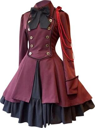 Mawoly Damen Kleider 1940s Retro European and American Women's Dress Bow Tie Long Sleeve Straps Tight Waist Skirt Holiday Dress Medieval Elegant - Red - 5XL