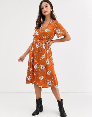 Qed London satin floral print wrap dress in rust