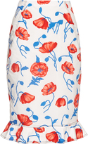 Oscar de la Renta Poppy-print cotton skirt