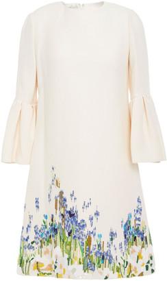 Valentino Embellished Wool And Silk-blend Mini Dress