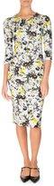 Erdem Allegra Half-Sleeve Sheath Dress, Yellow/Blue