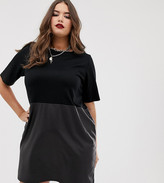 Asos DESIGN Curve faux leather mix shift dress
