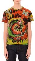 Valentino Tie-Dye Short-Sleeve T-Shirt with Embroidered Butterflies, Multi