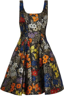 ZAC Zac Posen Dita Flared Metallic Brocade Mini Dress